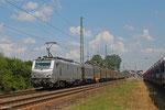 AKIEM BB37028 mit DGS Frankfurt-Oderbrücke - Forbach/F (Sdl.leere SNCF-Shimmns , aus Coilverkehr Dunkerque - Gliwice) , Einsiedlerhof 23.07.14
