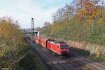 185 023 mit EK 55975 Völklingen Walzwerk - Saarbrücken Rbf Nord, Saarbrücken 22.11.14