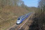 Tz 4720 unterwegs als TGV 9556 Frankfurt(Main) Hbf - Paris Est am 17.03.14 in Saarbrücken Deutschmühlental