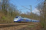 Tz 4720 unterwegs als TGV 9556 Frankfurt(Main) Hbf - Paris Est am 25.03.14 in Saarbrücken Deutschmühlental