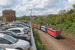 RBH 270 (151 025) und im Schlepp RBH 272 (151 081) mit GM  60498 Endsdorf (Saar) - Neunkirchen(Saar) Hbf (Kohle für KW Bexbach) , Saarbrücken 12.08.14