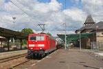 181 218 mit DbZ 94414 Fürstenhausen - Saareguemines/F (Sdl. Spritzzug zur Vegetationskontrolle) , Saareguemines Bahnsteig A am 16.06.16