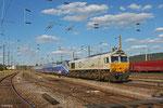 ECR 77 024 mit LPF 46076 Kaiserlslautern Hbf - Forbach/F (Sdl. Überführung TGV Tz 4726) , Forbach Triage 26.06.14