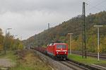 120 122 mit GM 60553 Völklingen - Saarbrücken Rbf Nord (Lastlauf Stahlverkehr, R und Sa-Wagen mit Halbzeug), Luisenthal(Saar) 06.11.14