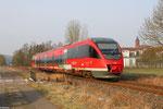 """643 024 """"Glan-Münchweiler""""  als RB 12867 Kusel - Landstuhl in Steinwenden nahe am BÜ in km 6,4 - 09:55 Uhr"""