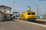 SNCF Infra BB22378 mit Gleismesszug in Forbach/F am 01.04.14, am Zugschluss BB22405 für die Rückfahrt Richtung Metz