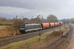 Aprilwetter - NIAG-Kohleleerzug mit 185 572 auf der Fahrt ins Ruhrgebiet, bei Bous am 12.04,2013