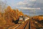 G1206 von Rhenus Rail mit DGS 44432 (Falkenberg/Elster o.B.) Biblis - Forbach/F (Creutzwald) zwischen Einsiedlerhof und Kindsbach am 20.11.13 (Sdl.Pkw)