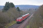 """218 408 mit """"Rosenmotagszug"""" RE 13587 Saarbrücken Hbf  - Mainz Hbf am 03.03.14 bei Dudweiler"""
