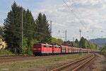 DT 151 023 + 151 165 mit GM 48770 Dillingen Zetralkokerei - Oberhausen West Orm (leere Fal nach Amsterdam Westhaven) am 09.04.14 in Merzig (ca. 11 Stunden verspätet)