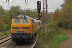 DB NETZE 218 477 schiebt Messzug Richtung Neunkirchen, Sulzbach(Saar) 29.10.14
