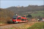 """643 021 """"Rammelsbach"""" in Godelhausen mit Blick auf den Remigiusberg, als RB 12917 nach Kaiserslautern"""