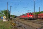 DT 140 833 + 140 843 mit GM 48772 Dillingen Zentralkokerei - Oberhausen West Orm (Maasvlakte Oost) , Ausfahrt Zetralkokerei 05.05.14