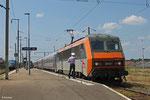 SNCF BB26157 mit EN 453 Paris Est - Moskva Belorusskaja am Bahnsteig 3 in Forbach/F , 12.06.14