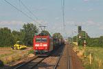 185 028 mit KT 41256 Ludwigshafen BASF Ubf - Port-Bou/E (Kombiverkehr) , bei Haßloch am 16.07.14
