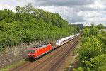 185 031 mit GB 44428 Neuss Gbf - Forbach/F (Vaires/F) (Sdl.gekuppelter Zugpark , Überführung 407 008), Güterumfahrung Saarbrücken 23.05.14