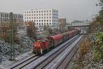 294 705 mit Übergabe Saarbrücken-Malstatt - Saarbrücken Rbf (am Schluss schiebt 294 854) , 09.12.14