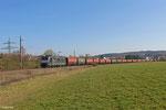 MRCE 185 553 (i.E.für NIAG) mit DGS 95247 Wemmetsweiler - Göttelborn am 28.03.14 bei Merchweiler
