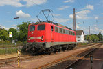 140 791 in Dillingen(Saar) am 01.07.14 ( T 67122 nach Saarbrücken Hbf , Sdl. Schadloküberführung wegen verdrehten Radreifen)
