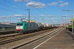 Cobra 2825 (186 217) mit GC 47563 Antwerpen DS BASF - Ludwigshafen BASF Gbf (chemische Produkte in Kesselwagen + auf Container Tragwagen) , Ludwigshafen(Rh)Hbf am 25.06.14