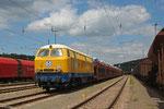 Travaux Du Sud Ouest (T.S.O.) V216 182 608 (ex. DB 216 214-7) in Saarbrücken Rbf , Überführung von Bremen-Sebaldsbrück nach Mézy-Moulins/F