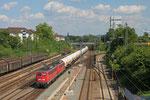 140 858 + 140 815 (RBH) mit XP 49247 Creutzwald/F - Hüls AG (Kesselwagen mit Butan bis Marl Hüls) , Saarbrücken Burbach 16.07.14