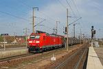 185 030 mit EZ 44420 Saarbrücken Rbf West - Blainville/F am 27.03.13 in Forbach (Sdl.EW-Zug)