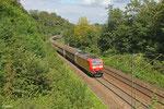 185 038 mit GB 47574 Saarbrücken Rbf Nord - Lerouville/F (Torf in H-Wagen von Sedelsberg nach Cavaillon), Saarbrücken 30.08.14