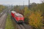 218 009 mit Hilfz 99980 Saarbrücken Hbf - Bous(Saar) , angekommen an der Unfallstelle in Bous am 05.11.13