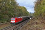 186 340 mit EZ 44226 Saarbrücken Rbf West - Les-Aubrais-Orleans am 03.11.13 in Saarbrücken kurz vor Grenzübertritt (EV Tiernahrung)
