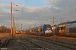 Zur Wochenendruhe abgestellte Fahrzeuge am 01.03.14 gegen 18:00 Uhr in Forbach/F (Personenbahnhof) , SNCF ( Alstom Coradia Duplex) Zx24572 und daneben SNCF (Bombardier AGC ) 27939, im Hintergrund noch AKIEM 37531 und ECR 186 174