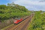 185 028 mit GM 60527 Kehl - Ehrang Nord (Stahlprodukte auf Res) , Saarbrücken Güterumfahrung am 11.05.14