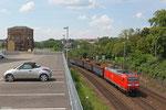185 154 mit EZ 45661 Ehrang Nord - Homburg(Saar) (Leerwagen für Schrottverkehr SRP (Saarländische Rohprodukte GmbH) - ArcelorMittal Belval und Differdange) , Saarbrücken 26.07.14