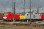 Frisch gewaschene ECR Lok's am 02.04.14 in Mannheim Rbf , 186 321 und 186 173