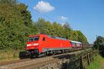 152 004 (im Schlepp GBRf 59 003) mit GB 62293 Saarbrücken Rbf Nord - Maschen Rbf Msof (Cuxhaven Europakai) (Sdl. Lok Claass 59, zur Verschiffung nach England), Saarbrücken Burbach 03.10.14