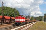 HGB V100.05 mit DBV 89427 Sulzbach(Saar) - Saarbrücken Rbf Nord (Sdl.Baustellenlogistik), Dudweiler 19.08.14,