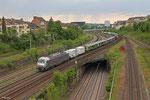 127 001(PCW 8) mit DbZ 91827 Klinkum - Saarbrücken Rbf Nord (Sdl.Triebwagenüberführung, London Midland-350 373 und London Midland-350 372) , Abzweig Saardamm 01.06.14