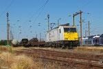 ECR 186 166 mit EZ 44405 Irun/E - Mannheim Rbf Gr.M (EV - Railnet France), Forbach Triage am 22.06.14