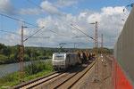 AKIEM BB37018 (i.E.für Saarrail) mit DGS 91308 Dillingen Hochofen - Völklingen (Flüssigeisen), Walzwerk Völklingen 16.08.14