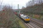 ECR 77 025 mit EZ 98802 Forbach/F - Saarbrücken Rbf Nord (Sdl.Frachten, ex. EZ44403), Saarbrücken 21.12.14