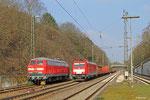 218 139 von DB Fahrwegdienste und 186 334 mit EK 55884 aus Neunkirchen(Saar) am 06.03.14, Einfahrt Saarbrücken Rbf / Hp Jägersfeude