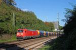 185 035 mit GB 44430 München Nord Rbf E - Forbach/F (Fos-Meriquette) (Sdl.leere Kesselwagen), Saarbrücken 20.09.14