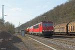 155 039 (im Schlepp 225 117) mit EZ 52083 Gremberg - Saarbrücken Rbf Nord am 19.03.14 in Luisenthal(Saar)