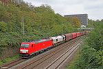 186 338 (im schlepp ECR 77 008) mit EZ 44210 Saarbrücken Rbf West - Blanville/F (Railnet France), Saarbrücken 23.10.14