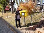 Briefkasten am Mittelpunkt Deutschlands in Niederdorla.