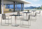 Serie Natal Sessel Edelstahl Textilen | Tisch Cube mit Edelstahlgestell