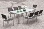 Serie Square Sessel Edelstahl Textilen | Tisch Sting mit Edelstahlgestell und Glasplatte