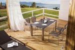 Serie Natal Sessel Edelstahl Textilen | Tisch Square mit Edelstahlgestell und Granitplatten