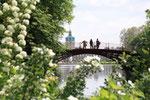 Blühende Sträucher im Mai. Menschen stehen auf der Roten Brücke mit Blick auf Schloss Charlottenburg. Foto: Helga Karl