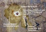 Während der Versuche zur Abnahme der Fassungen: Die Menge der zu entfernenden Schichten wird deutlich sichtbar.